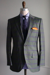 Green Suit with Navy Overcheck