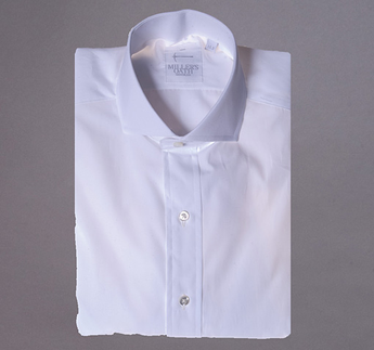 White Broadcloth shirt with English Spread Collar