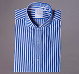 Royal and White Cabana Stripe with English Spread Collar