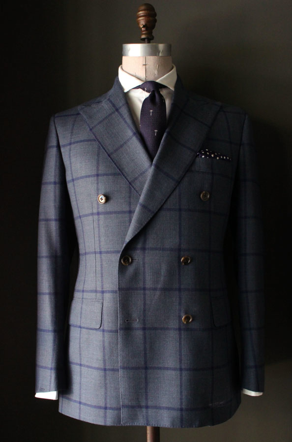ee6dc112b2055 Unstructured Double Breasted Blue Windowpane Sportcoat – MillersOath