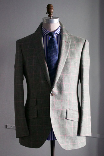 Windowpane sportcoat in green with pink
