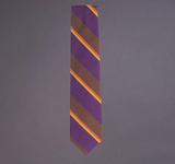 Woven Regimental Stripe tie, Purple/Brown, NS