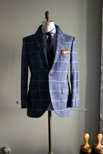 Dark Blue Tweed windowpane sportcoat
