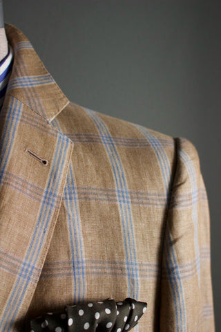 Multi Windowpane Sportcoat in Camel w/ Light Blue Sportcoat
