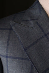 Unstructured Double Breasted Blue Windowpane Sportcoat