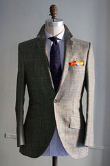 Dark Heather Green Windowpane Sportcoat