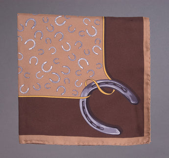 Horseshow Pocketsquare, Tan/Brown