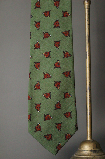 Printed Foxhead Tie on Wool Challis