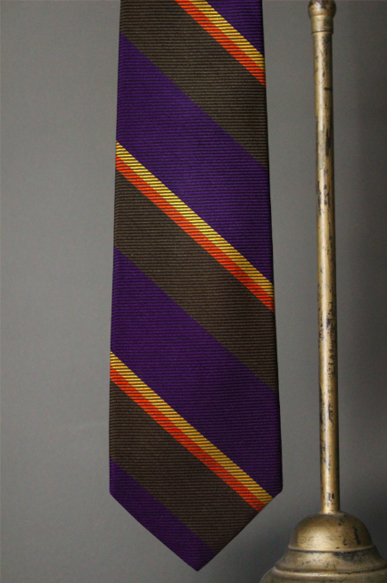 Woven Regimental Stripe tie, Purple/Brown