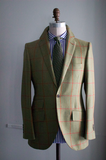 Soft Green Sportcoat with Red Windowpane