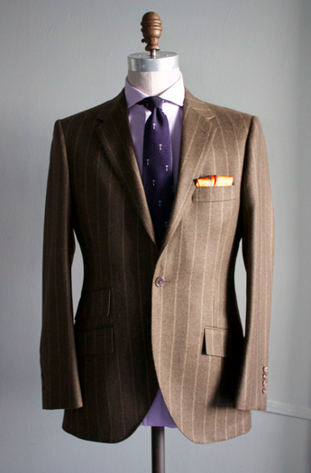 Chalk Stripe Flannel Suit in Olive
