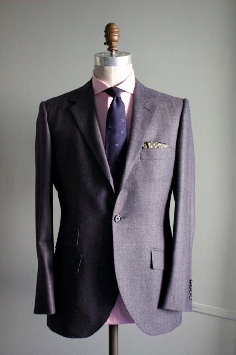 Herringbone Char-Navy Worsted Suit