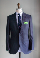 Navy Pindot Stripe Suit