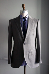 Grey Oversize Worsted Windowpane Suit