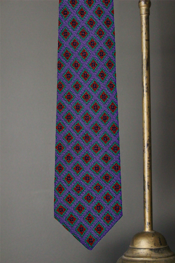 Oversize Geometric Tie, Purple/Burnt Orange, One Size