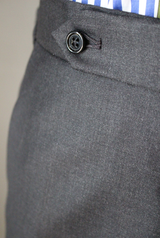 Mid-Grey Plain Weave Worsted Wool Trouser