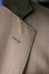 Tan Covert Chesterfield Overcoat w/ Green Velvet Collar