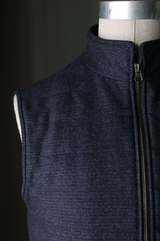 CharNavy Wool Textured Flannel Vest