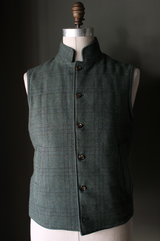 Forest Green Plaid Tweed Vest