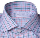 Pink/Green/Blue Double Box Check Shirt with English Spread Collar