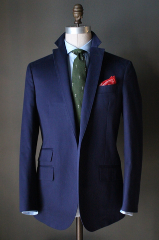 Unstructured Navy Cotton Sport Coat
