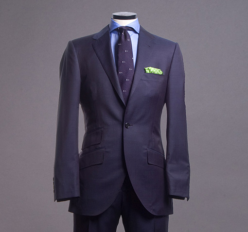 Navy Pin Dot Worsted Suit