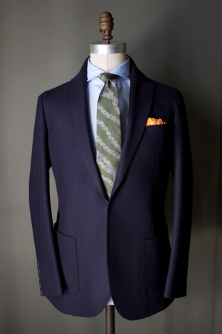 Unstructured Navy Flannel Sportcoat