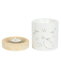 Dragonfly silhouette Patterns on a white Oil Burner Tea light candle