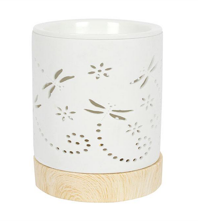 Dragonfly silhouette Patterns on a white Oil Burner