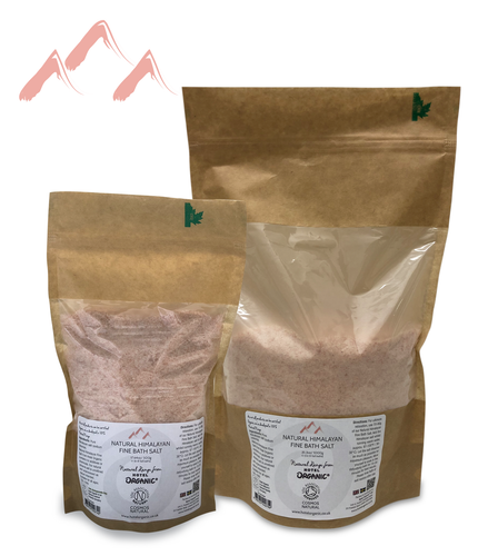 Natural Himalayan FINE Bath Salt Biodegradable Bag, Small and Large