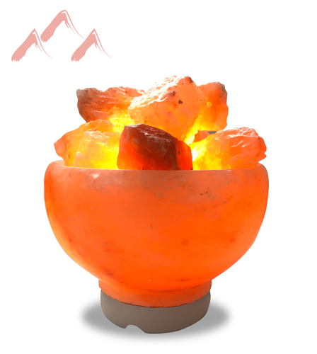 Natural Himalayan Crystal Fire Bowl Lamp
