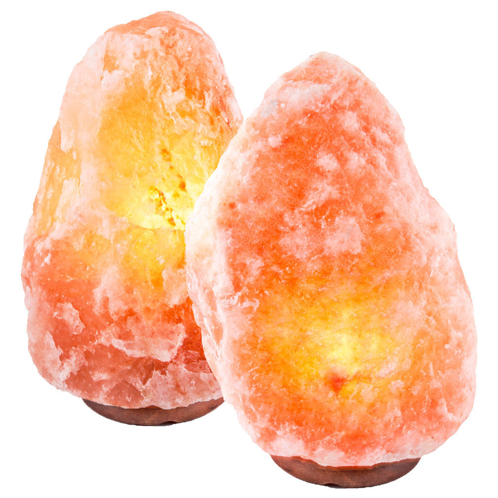 "CRYSTAL DECOR Set of 2 Hand Crafted Natural Himalayan 10"" Salt Lamp On Wooden Base"
