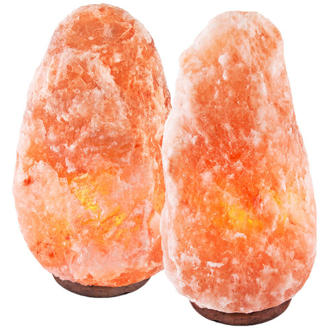 "CRYSTAL DECOR Set of 2 Hand Crafted Natural Himalayan 13"" Salt Lamp On Wooden Base"