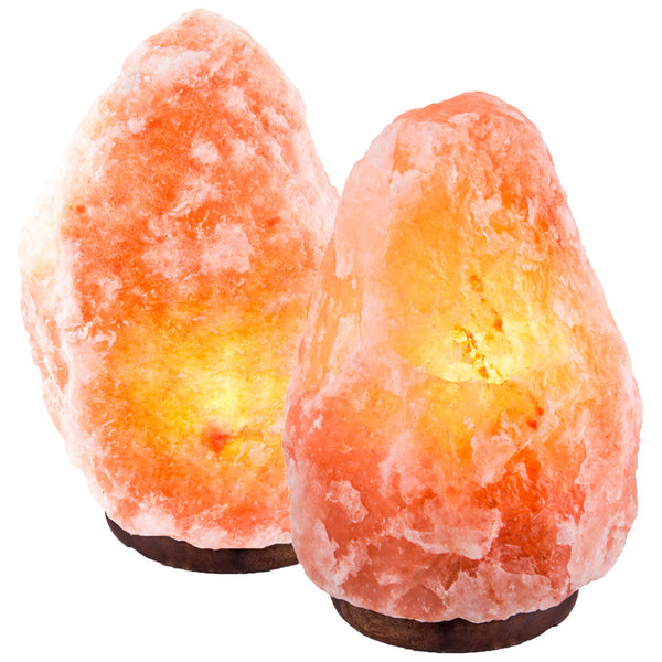 "CRYSTAL DECOR Set of 2 Hand Crafted Natural Himalayan 7"" to 8"", 6-8 lbs Salt Lamp On Wooden Base"