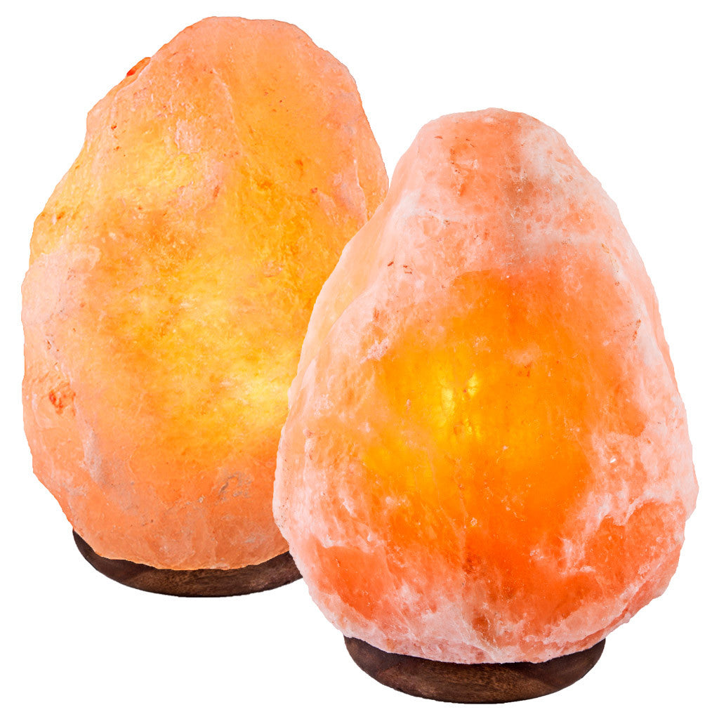 "CRYSTAL DECOR Set of 2 Hand Crafted Natural Himalayan 8"" Salt Lamp On Wooden Base"