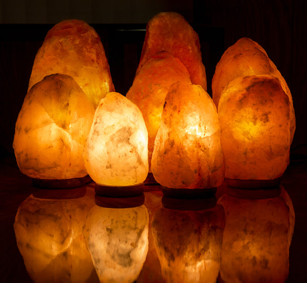 "CRYSTAL DECOR 9"" to 10"", 10-12 lbs Dimmable Hand Crafted Natural Himalayan Salt Lamp On Wooden Base"