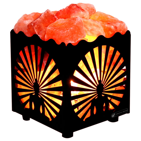 CRYSTAL DECOR Natural Himalayan Salt Lamp in Buddha Design Metal Basket with Dimmable Cord