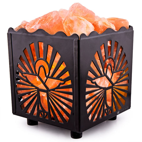 CRYSTAL DECOR Natural Himalayan Salt Lamp in Jesus Design Metal Basket with Dimmable Cord