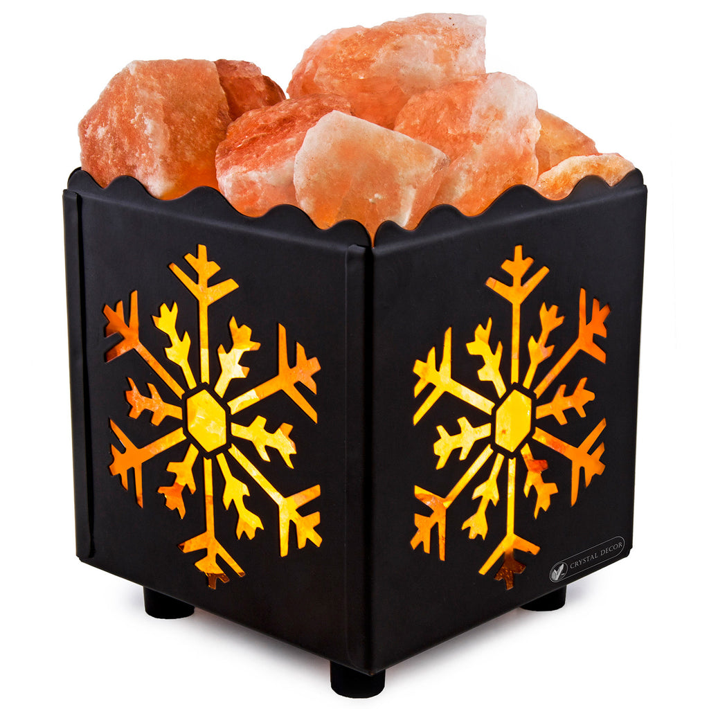 Crystal Decor Natural Himalayan Salt Lamp in Star Design Metal Basket with