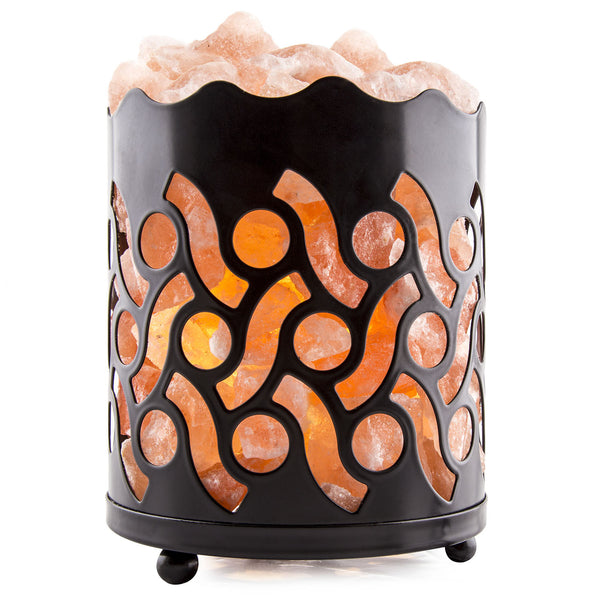 CRYSTAL DECOR Natural Himalayan Salt Lamp with Salt Chunks in Cylinder Design Metal Basket and Dimmable Cord - Circle Design