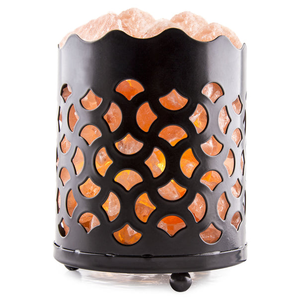 CRYSTAL DECOR Natural Himalayan Salt Lamp with Salt Chunks in Cylinder Design Metal Basket and Dimmable Cord - Fan Design