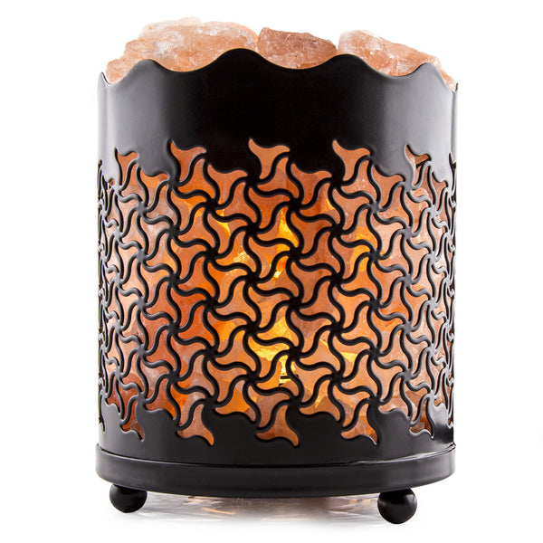 CRYSTAL DECOR Natural Himalayan Salt Lamp with Salt Chunks in Cylinder Design Metal Basket and Dimmable Cord - Tristar Design