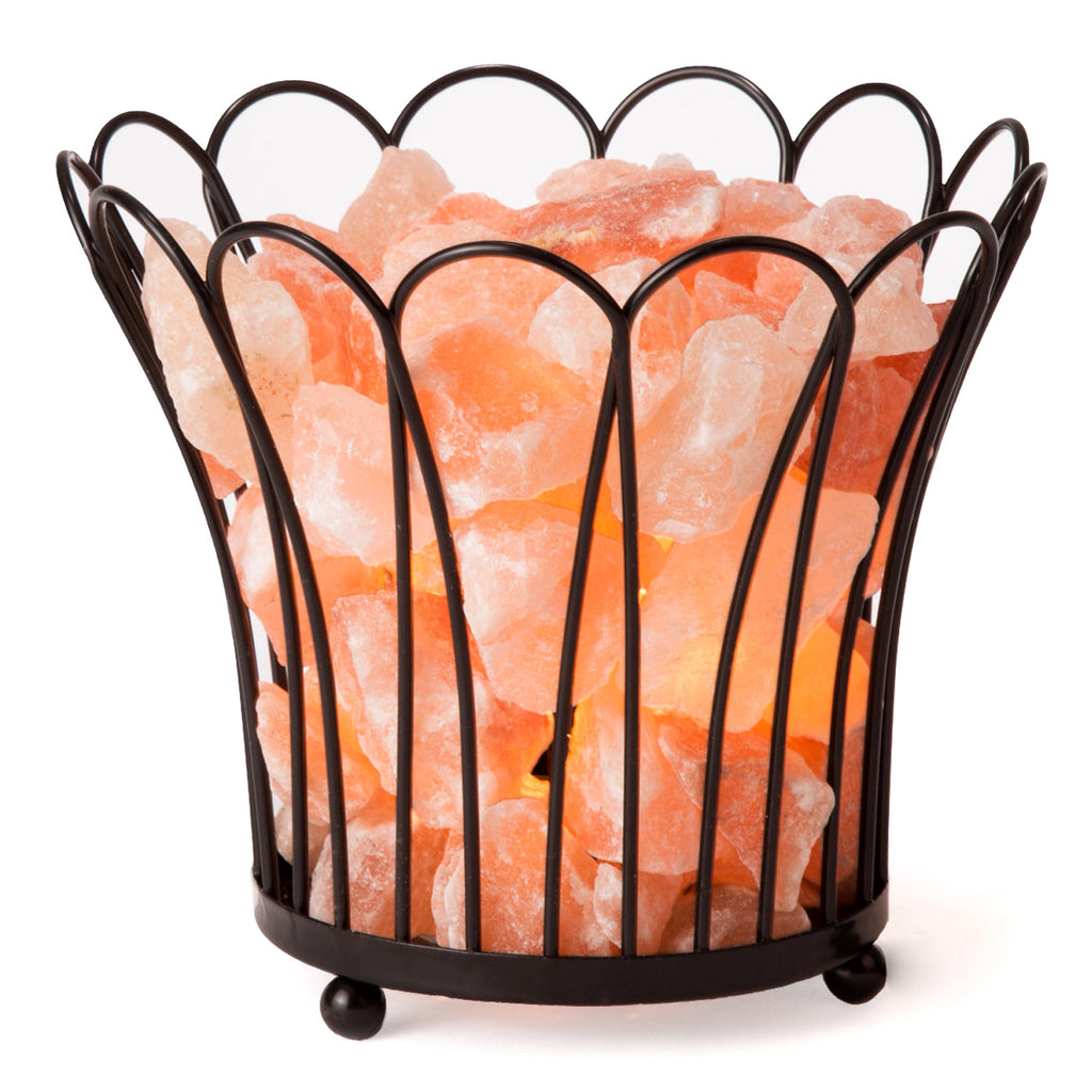 CRYSTAL DECOR Natural Himalayan Salt Lamp in Blossom Design Metal Basket Lamp with Dimmable Cord