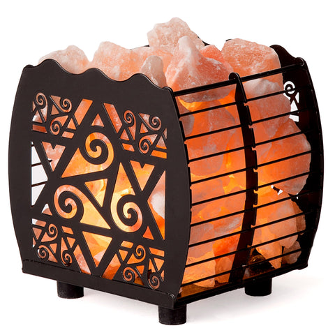 CRYSTAL DECOR Natural Himalayan Hybrid Wired Cube Basket Pink Salt Lamp in a Modern and Contemporary Design with Dimmable Cord - Star