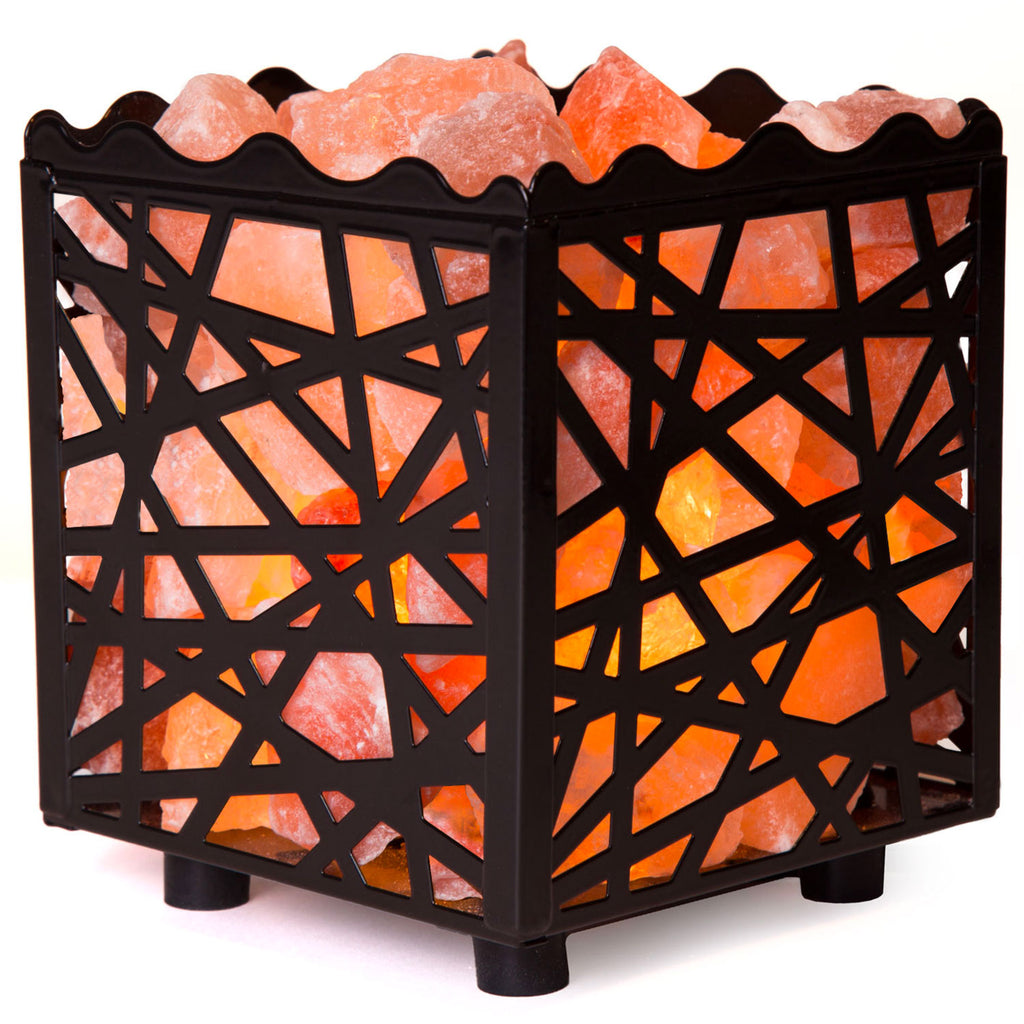 CRYSTAL DECOR Natural Himalayan Salt Lamp in Mosaic Design Metal Basket with Dimmable Cord