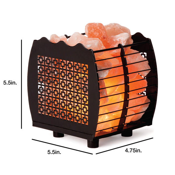 CRYSTAL DECOR Natural Himalayan Hybrid Wired Cube Basket Pink Salt Lamp in a Modern and Contemporary Design with Dimmable Cord - Square