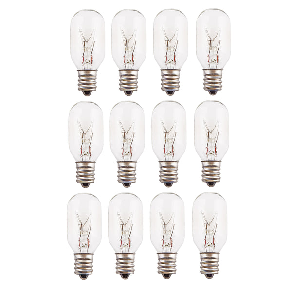 CRYSTAL DECOR Long Lasting Incandescent Salt Lamp Bulbs – Pack of 12 - 25 Watt