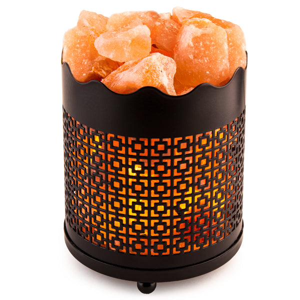 CRYSTAL DECOR Natural Himalayan Salt Lamp with Salt Chunks in Cylinder Design Metal Basket and Dimmable Cord - Square Design