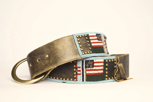 American Flag Beaded Leather Belt