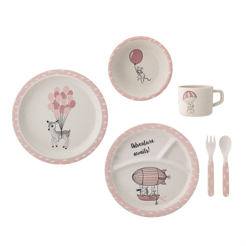 bambou bamboo set of 6 plate cup spoon pink bambi assiette ensemble vaisselle enfant